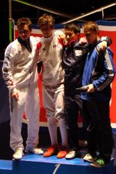 Cadet European Cup bronze medalist Justin Yoo (second from right).