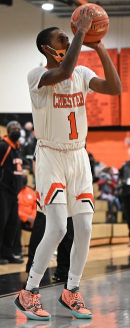 Fareed Burton shoots the basketball