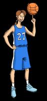 Animated basketball player holding the ball
