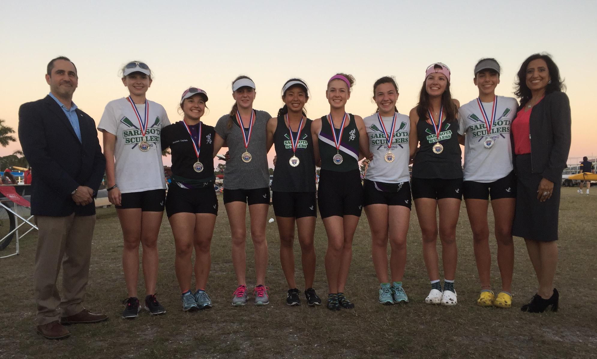 Sarasota Scullers Rowers Earned 13 Medals at the Sarasota Invitational Regatta