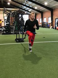 Former USC baseball player Tanner English works out at Apex Athletic Performance in Columbia, South Carolina.