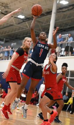 Mikayla Blakes shoots a basketball