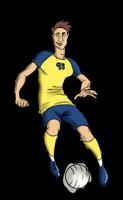 animated men's soccer player dribbling ball